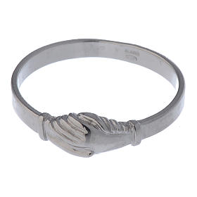 Saint Rita ring in 925 silver with shaking hands s4