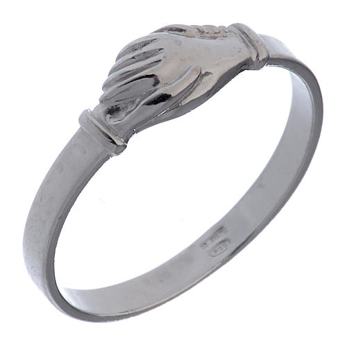 Saint Rita ring in 925 silver with shaking hands 1