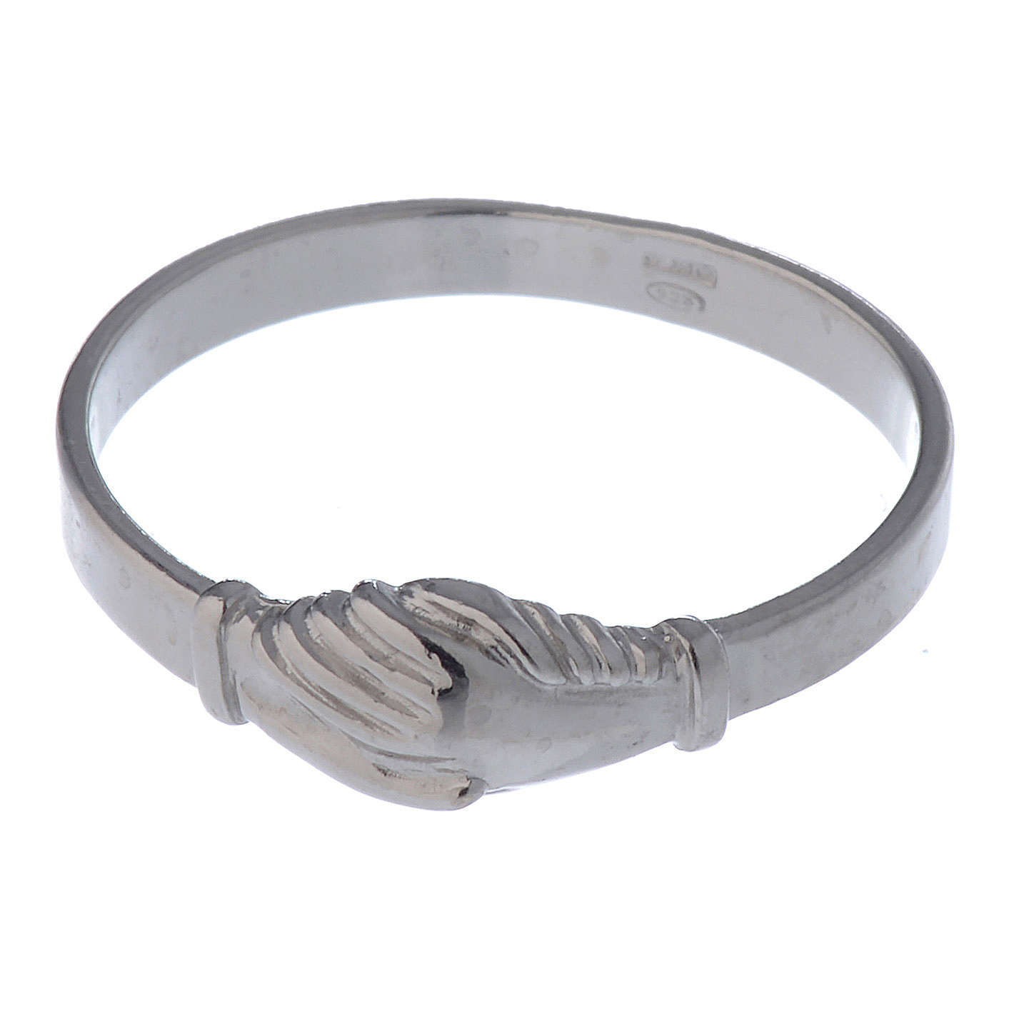 Saint Rita ring in 925 silver with shaking hands 3