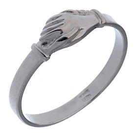 Saint Rita ring in 925 silver with shaking hands s1