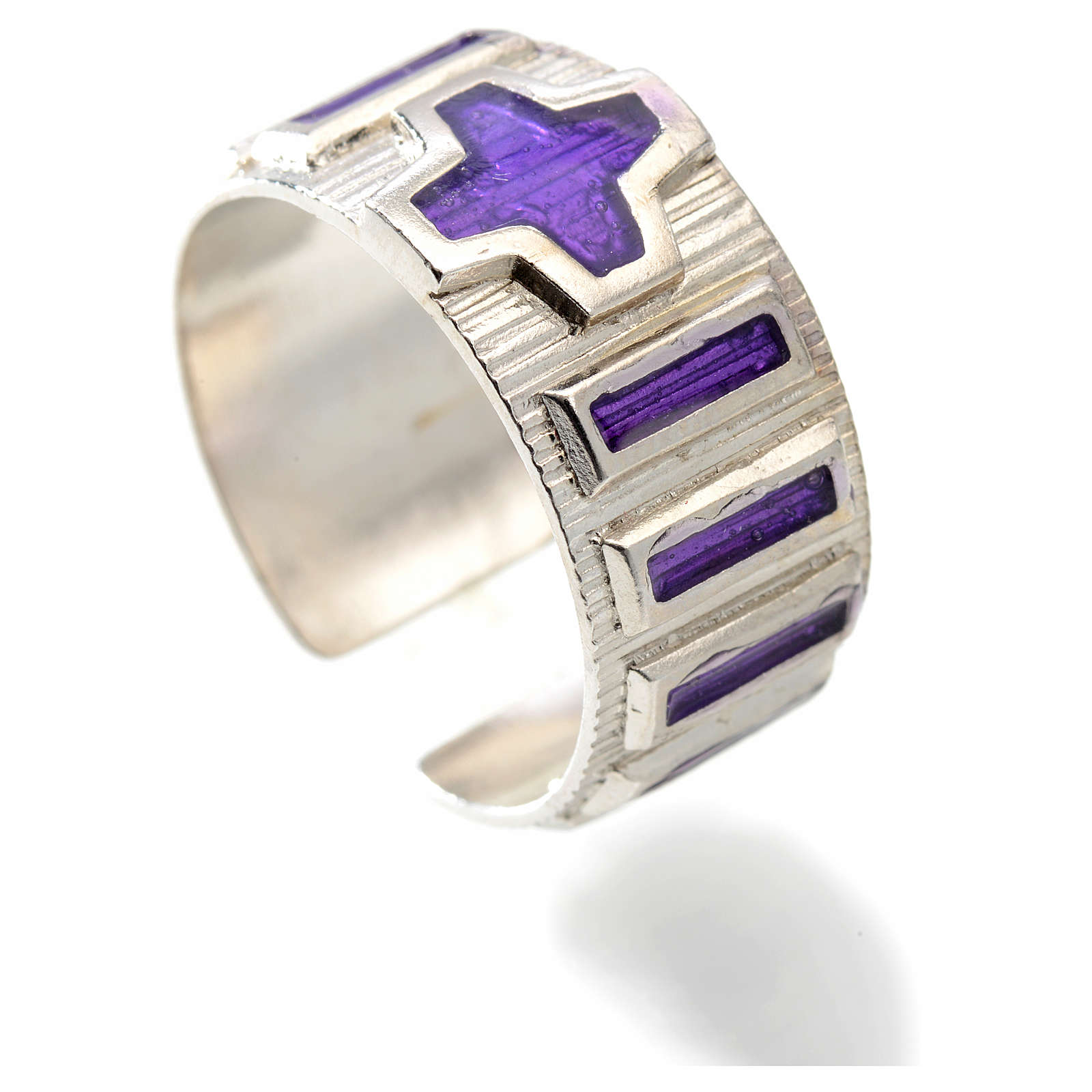 Anillo decena metal plateado 800 esmalte violeta 3