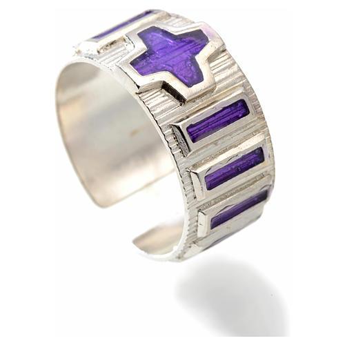 Anillo decena metal plateado 925 esmalte violeta 2