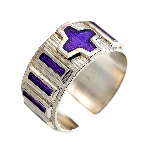 Single decade rosary ring  silver and violet enamel 1