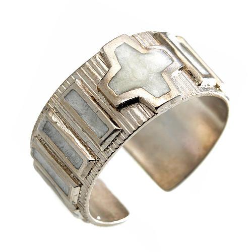 Anello decina argento 925 smalto bianco 1