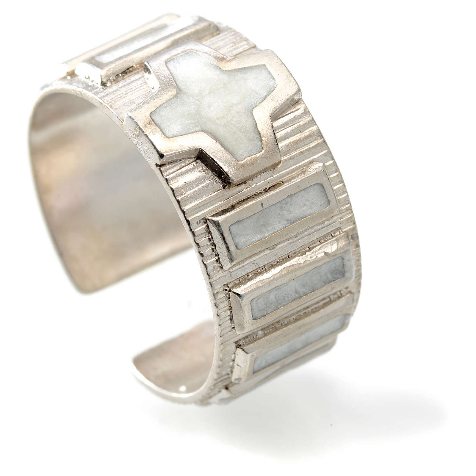Anel dezena metal prata 800 esmalte branco 3