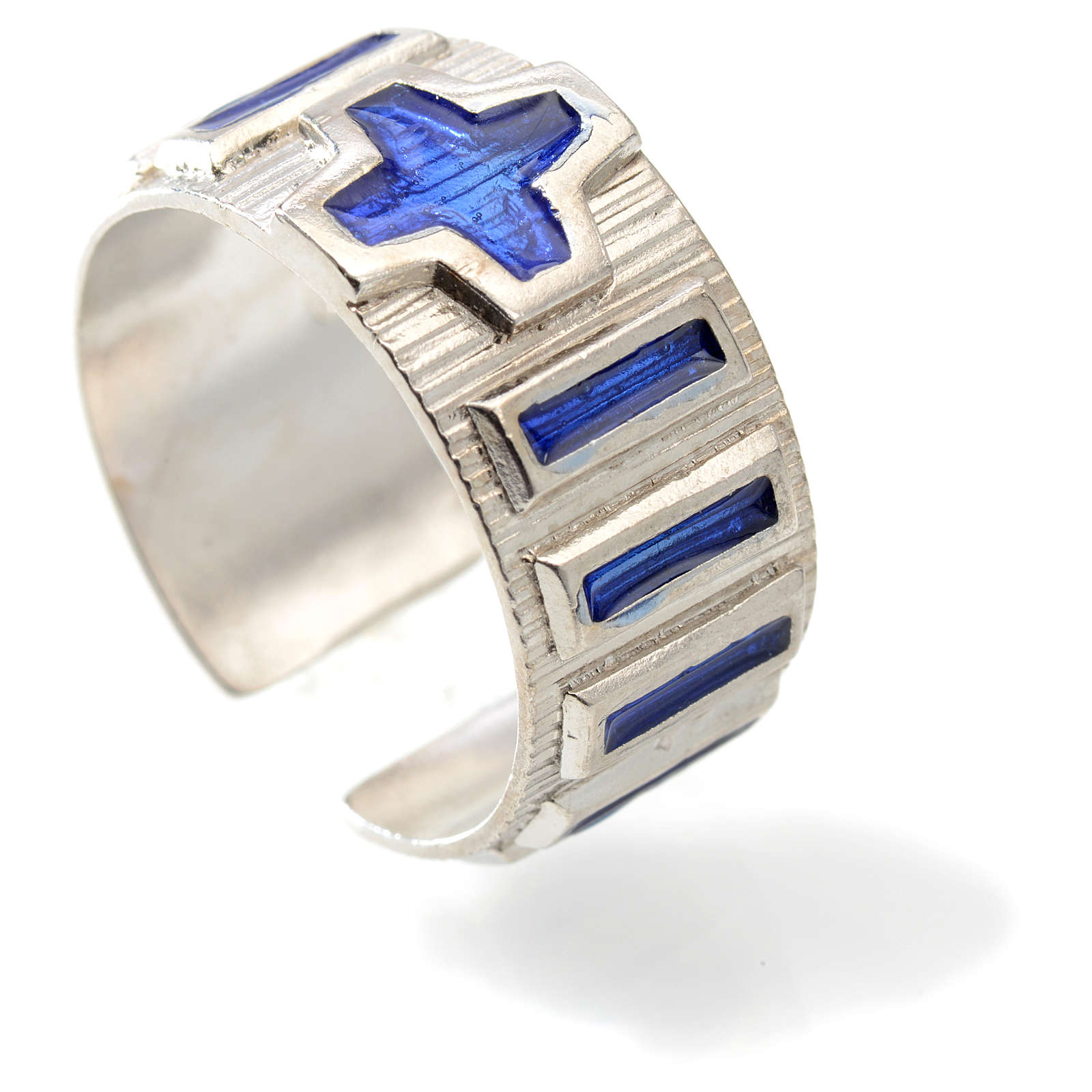 Single decade rosary ring  silver and blue enamel 3