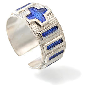 Single decade rosary ring  silver and blue enamel s2