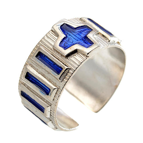 Single decade rosary ring  silver and blue enamel 1