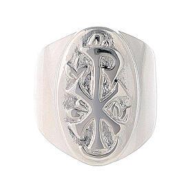 Anel episcopal prata 925 Chi-Rho regulável s2