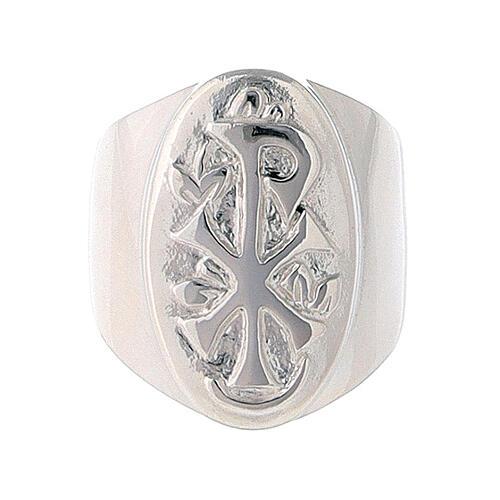 Anel episcopal prata 925 Chi-Rho regulável 2