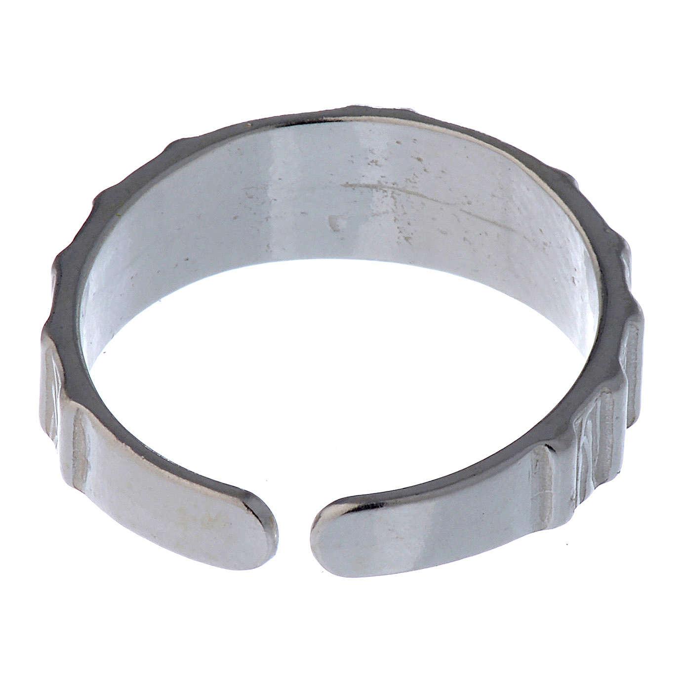 Anel prata 925 cruz regulável 3