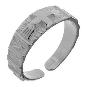 Anel prata 925 cruz regulável s1