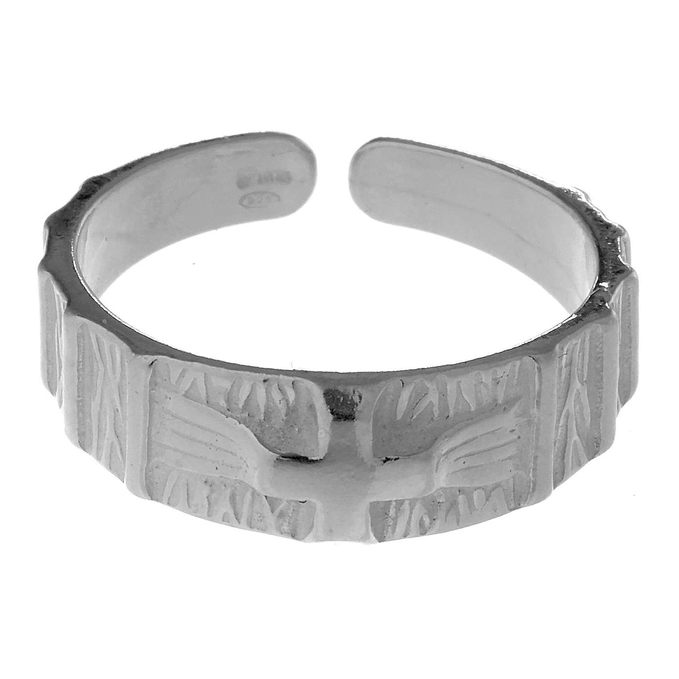 Silver religious ring with cross 3