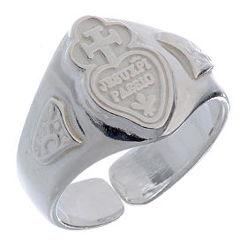 Silver adjustable ring with cross and heart s1