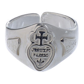 Silver adjustable ring with cross and heart s2