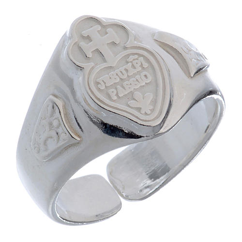 Silver adjustable ring with cross and heart 1