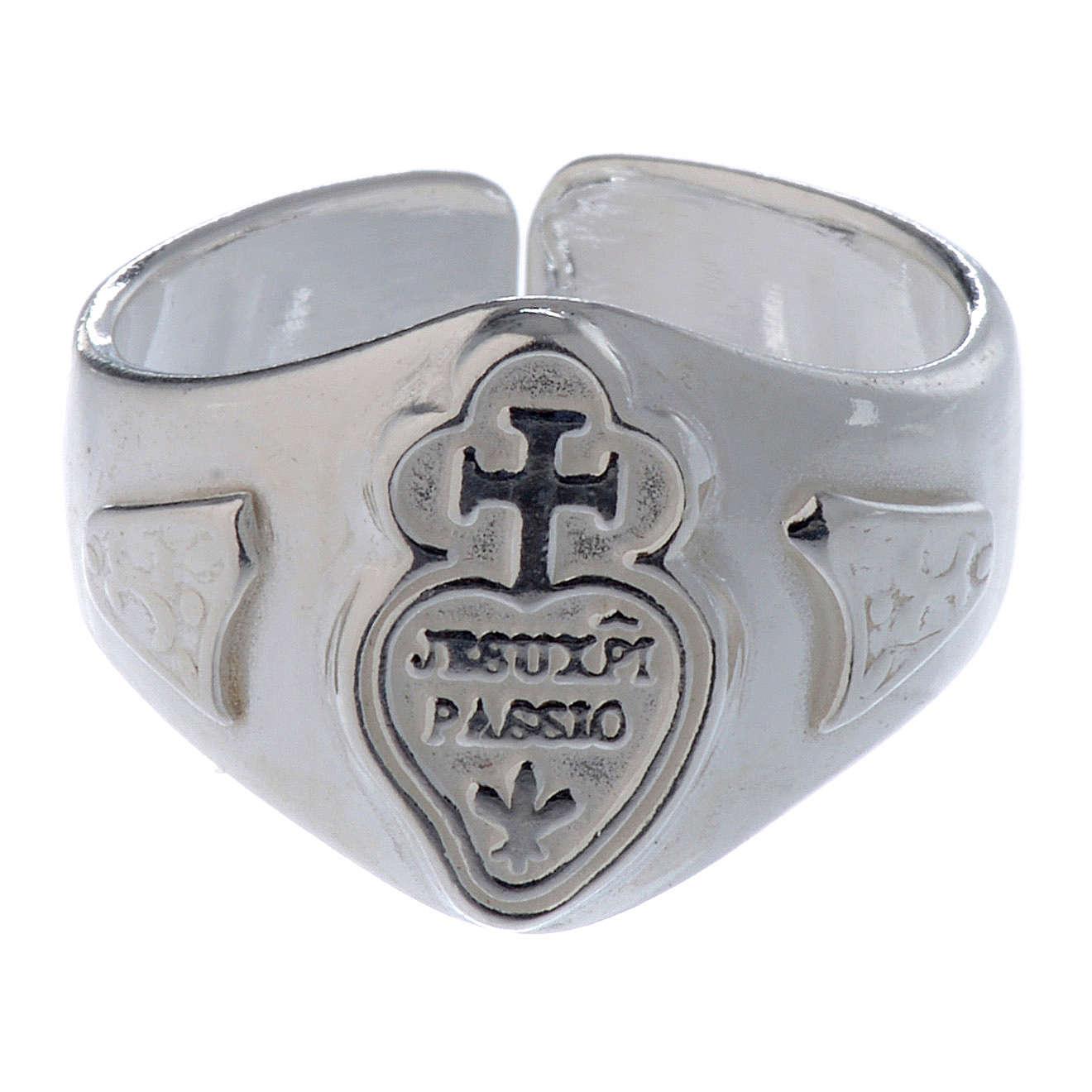 Anillo ajustable plata 800 corazón y cruz 3