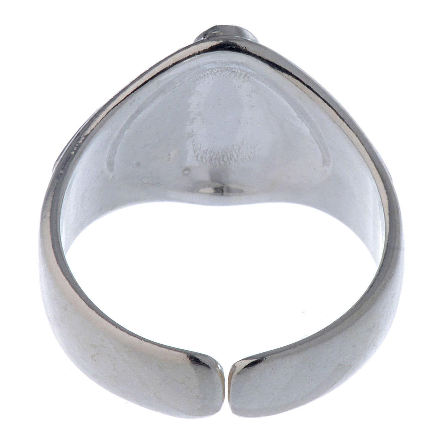 Anel prata 925 coração e cruz regulável 3