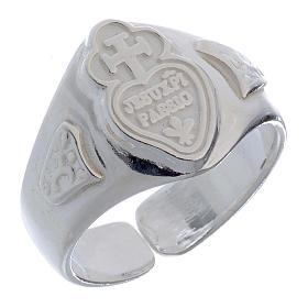Anel prata 925 coração e cruz regulável s1