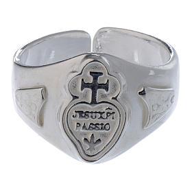 Anel prata 925 coração e cruz regulável s2