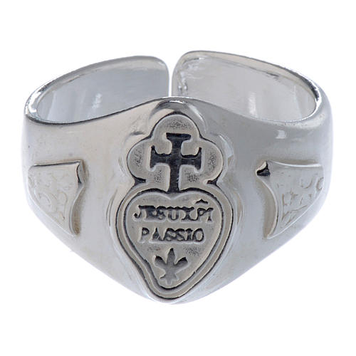 Silver adjustable ring with cross and heart 2