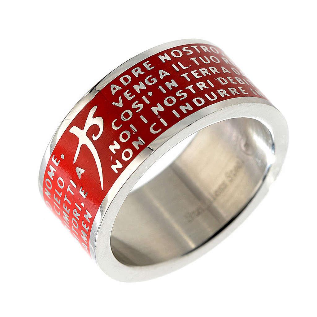 Anillo Padre Nuestro INOX LUX rojo 3