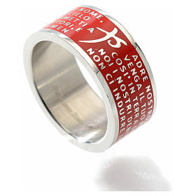 Our Father prayer ring red - stainless steel LUX s2