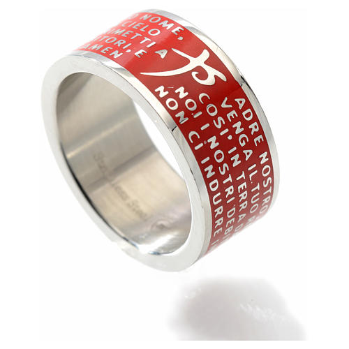Our Father prayer ring red - stainless steel LUX 2
