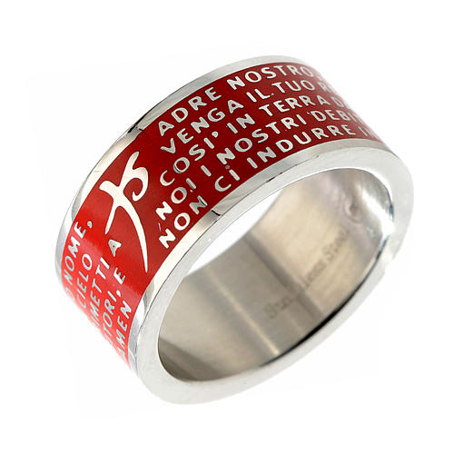 Our Father prayer ring red - stainless steel LUX 1