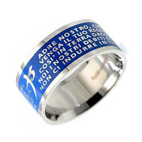 Anéis Religiosos: Anel Pai Nosso ITA INOX LUX azul escuro