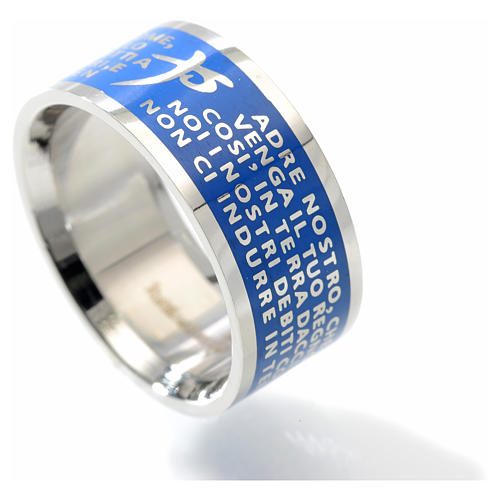Our Father prayer ring bleu - stainless steel LUX 2