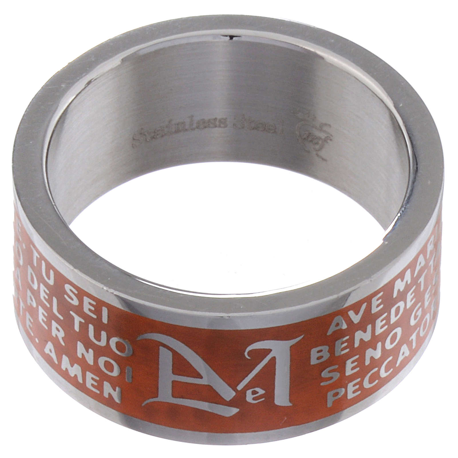 Hail Mary prayer ring orange - stainless steel LUX 3