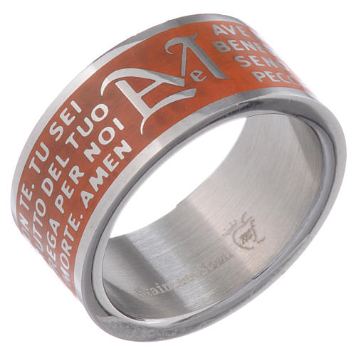 Hail Mary prayer ring orange - stainless steel LUX 1