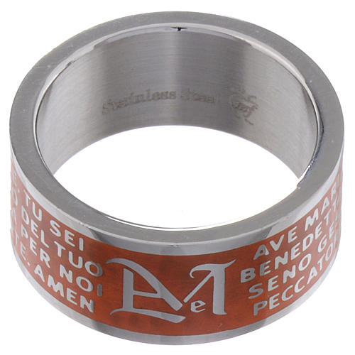 Hail Mary prayer ring orange - stainless steel LUX 2
