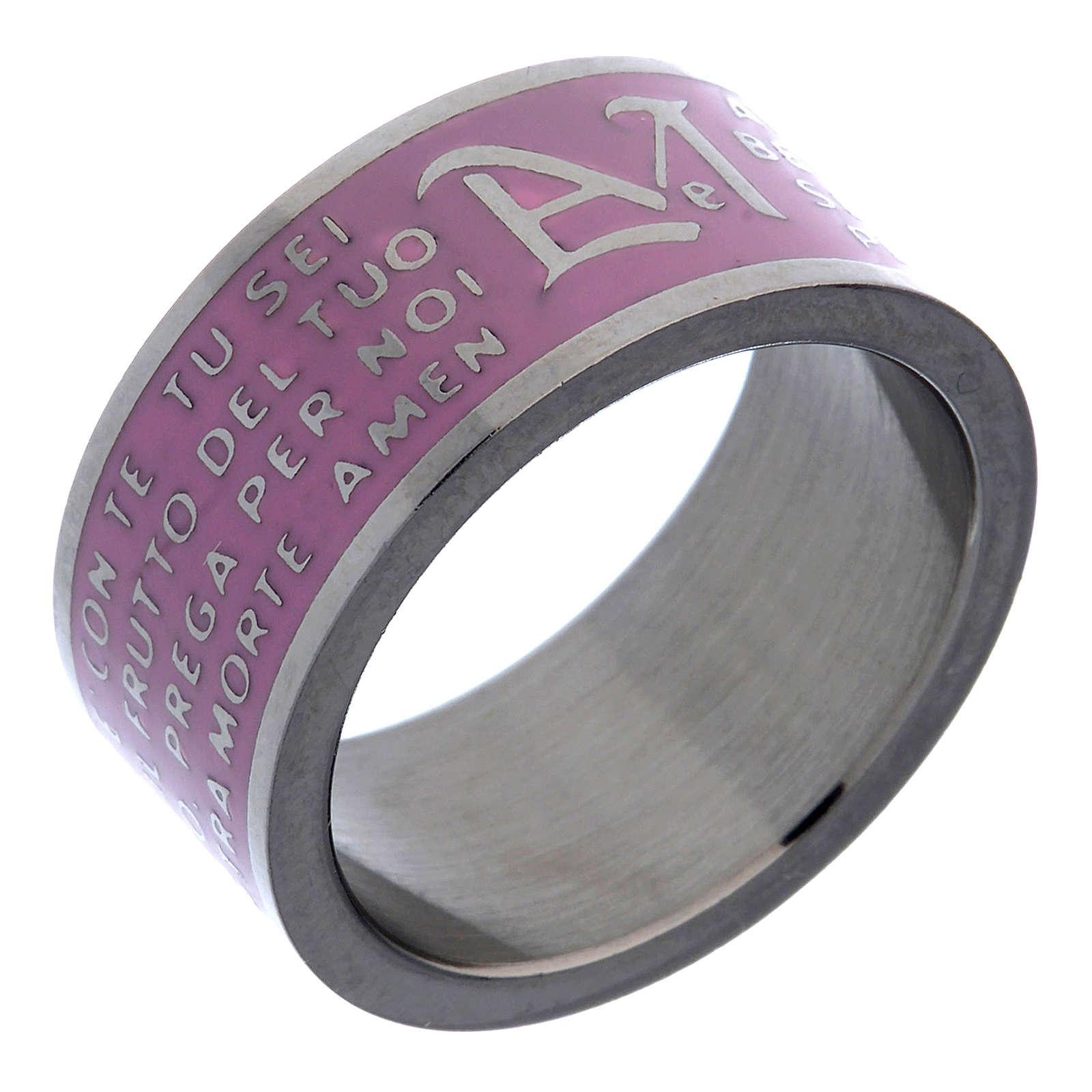 Anillo Ave María INOX LUX rosado 3