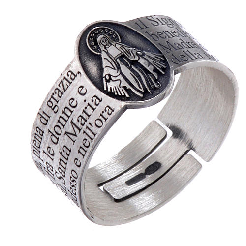 Hail Mary prayer ring in 925 silver, adjustable 1