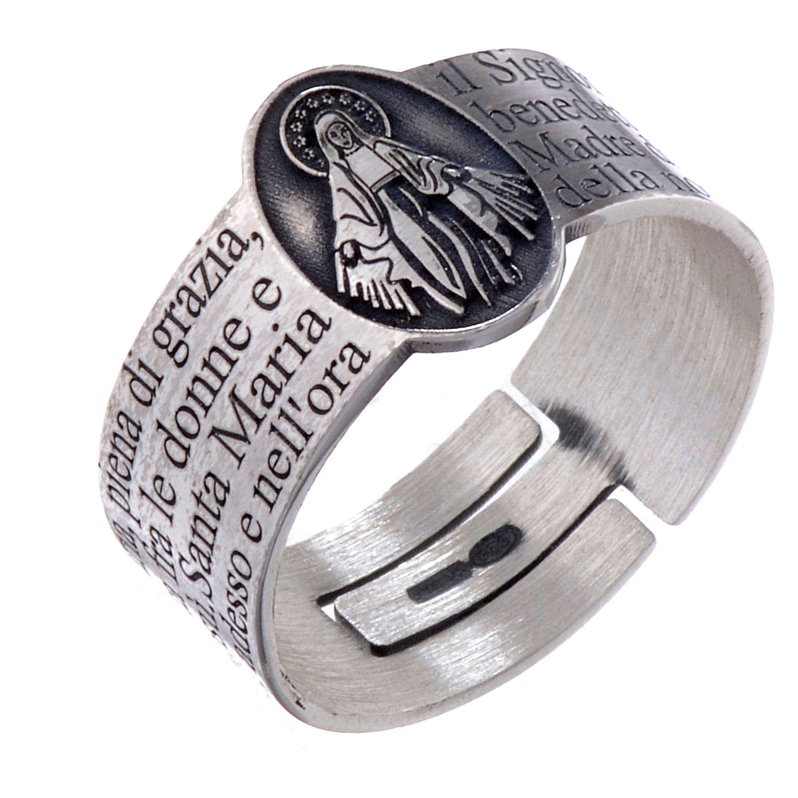 Hail Mary prayer ring in 925 silver, adjustable 3