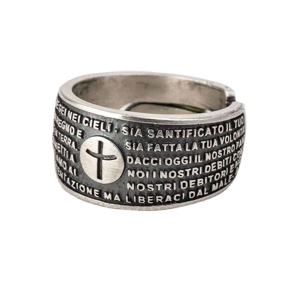 Anello Padre Nostro bronzo argentato 3