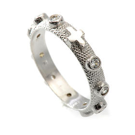 Prayer ring single decade in 925 silver and white zircon s1