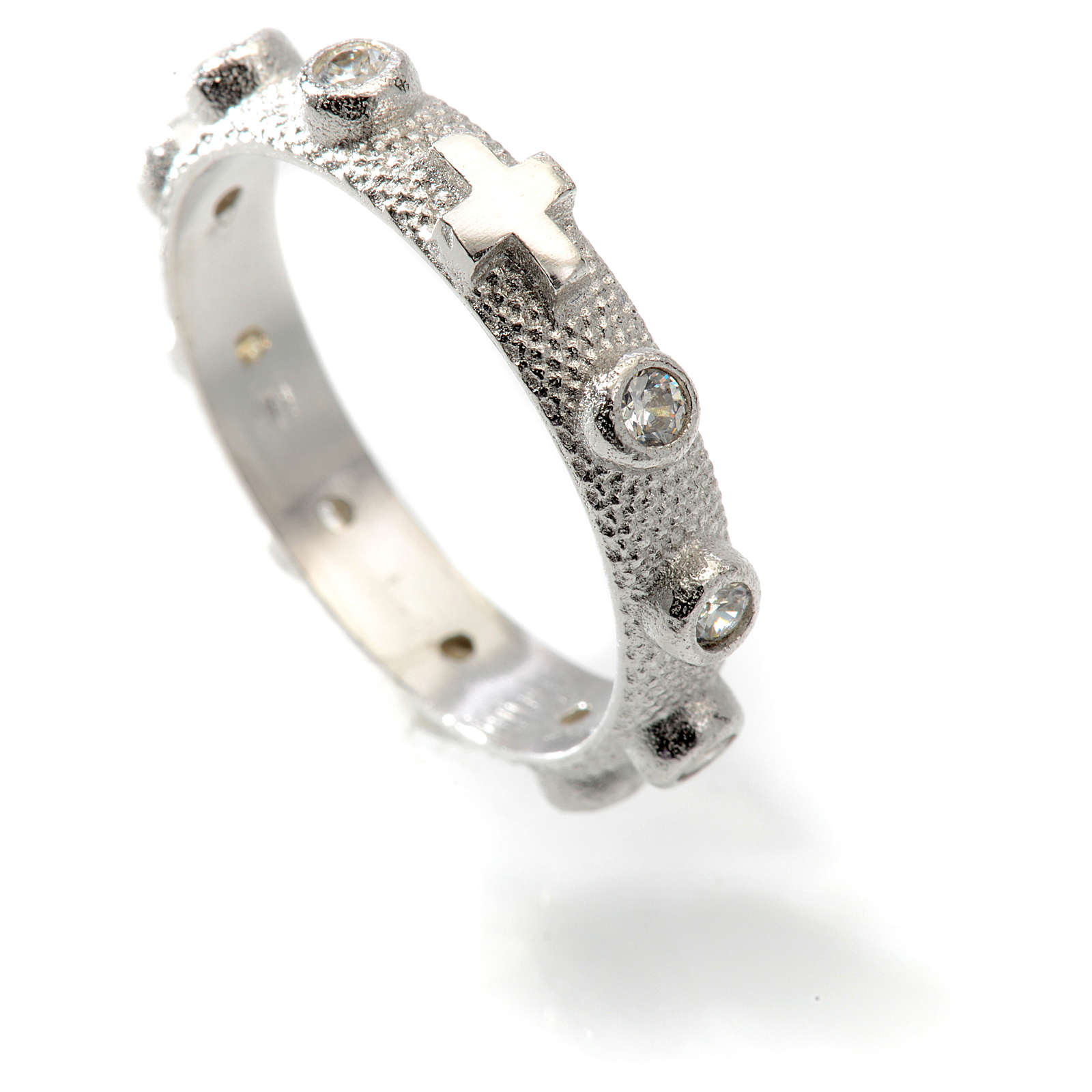 Prayer ring single decade in 800 silver and white zircon 3