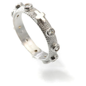 Prayer ring single decade in 800 silver and white zircon s4