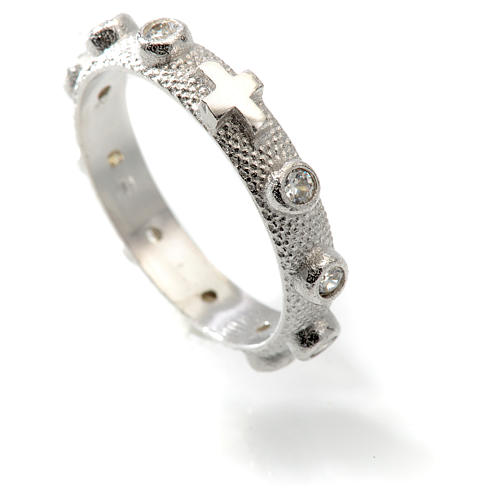 Prayer ring single decade in 925 silver and white zircon 4