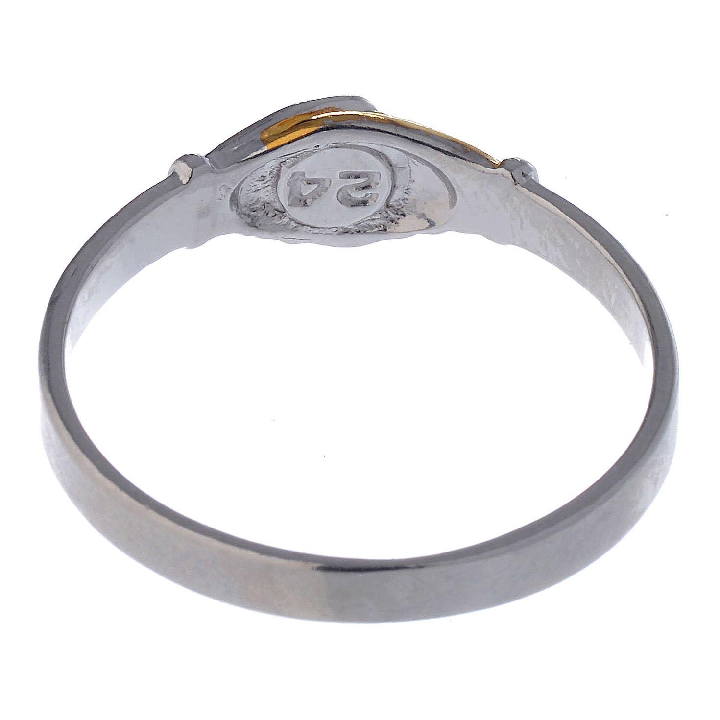 Prayer ring Saint Rita in 925 silver, bi-coloured 3