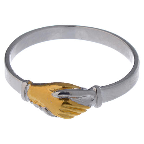 Anello Santa Rita argento 800 bicolore 4