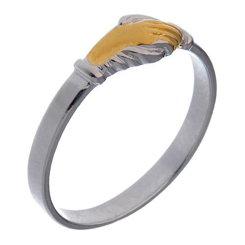 Obrączka Pierścionek Święta Rita srebro 925 dwukolowe 1