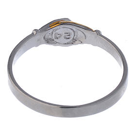 Prayer ring Saint Rita in 925 silver, bi-coloured s5