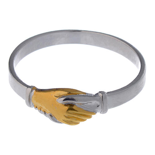 Prayer ring Saint Rita in 925 silver, bi-coloured 4