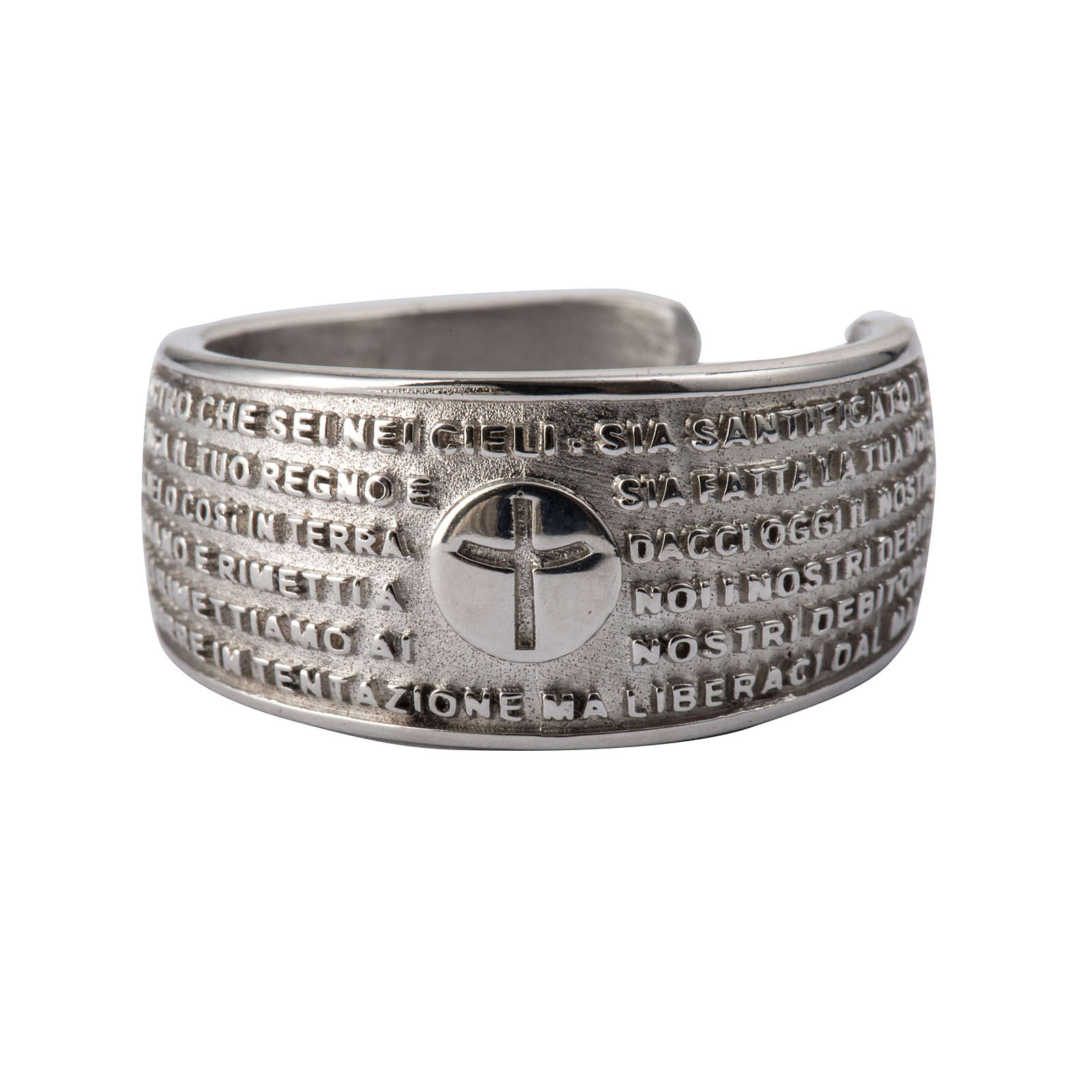 Prayer ring Our Father in rhodium-plated bronze 3