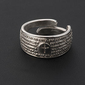 Prayer ring Our Father in rhodium-plated bronze s4