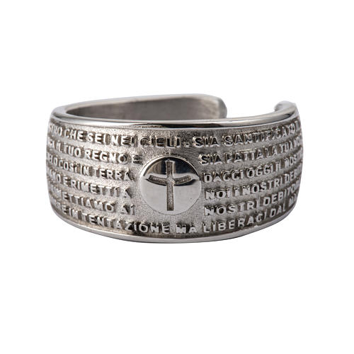 Prayer ring Our Father in rhodium-plated bronze 1